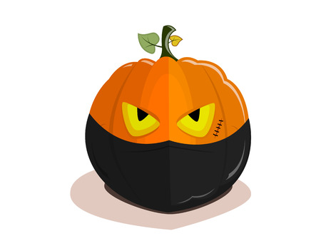 Halloween pumpkin ninja with a bandage on the face isolated on a white background