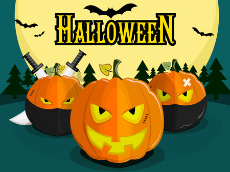 villain: Pumpkin for Halloween on background of the full moon. Pumpkin with an evil smile, ninjas and pumpkins with swords. Bats Illustration