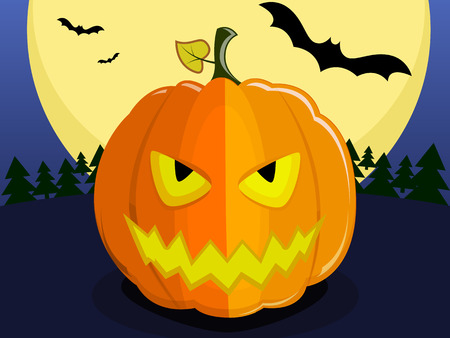 Pumpkin for Halloween on background of the full moon. Pumpkin with an evil smile, bats Illustration