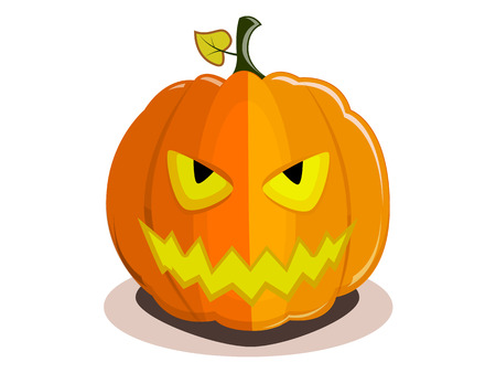 Pumpkin for Halloween with devil smile isolated on a white background