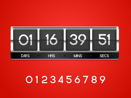 Chrome countdown Timer for the website. Square section. Days, hours, minutes, seconds. red background. Vector drawing