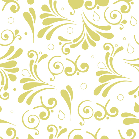 seamless vector pattern with gold smooth swirls and circles