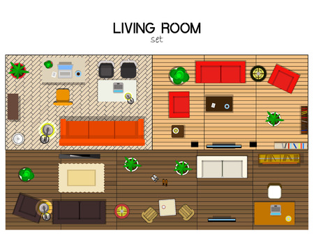vector set of furniture for the living room, top view. Sofas with TVs, lamps, chairs and desks Illustration