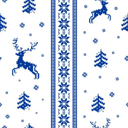 seamless striped Christmas pattern knitted reindeer, trees and snowflakes Scandinavian style Illustration