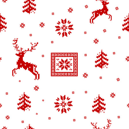 seamless striped red Christmas pattern knitted reindeer, trees and snowflakes Scandinavian style