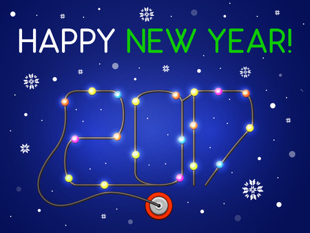 Happy New Year 2017 in the form of a garland. Its snowing. Cord with lights plugged into a power outlet. Vector illustration