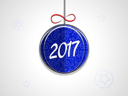 Christmas paper ball ornaments and 2017 inscription on a light background