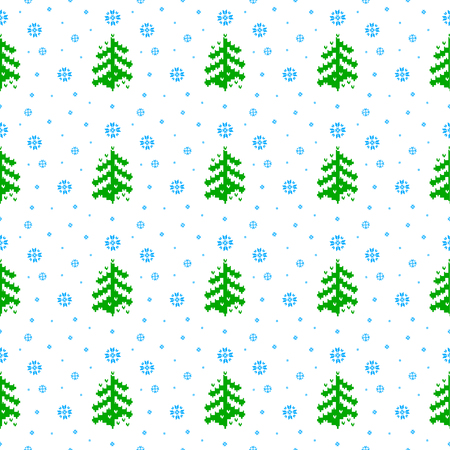 seamless Christmas winter pattern in the Nordic knitted style Christmas trees and snowflakes