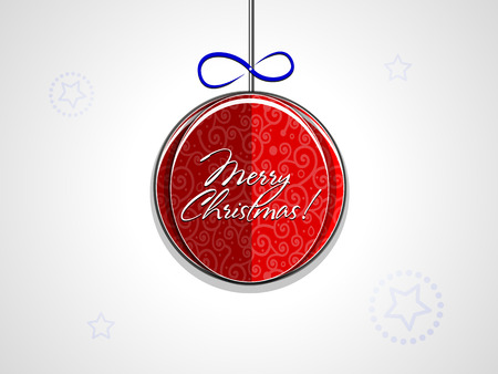 Christmas paper ball ornaments and merry christmas inscription on a light background