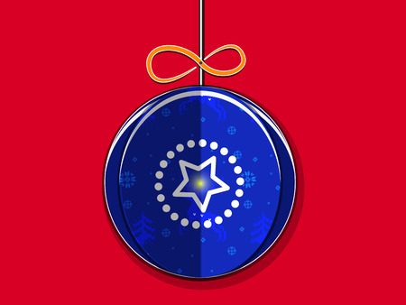 Paper Christmas Ball with a pattern of snowflakes and reindeer with bow and shining star. On the red background