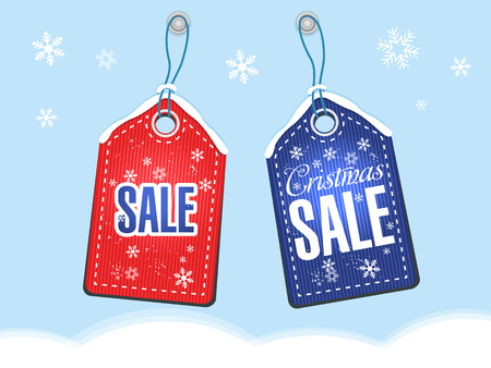 vector tag with the inscription Christmas sale on monochrome background with snowflakes Illustration