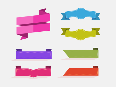 set of flat rectangle ribbons