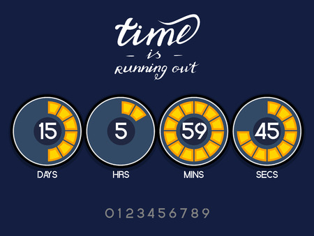 Countdown Timer for the website. Round section. Days, hours, minutes, seconds. Dark blue background. Stock inscription time is running out, lettering