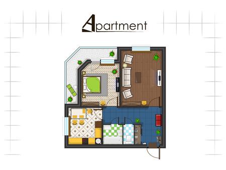 apartment suite: apartment project top view