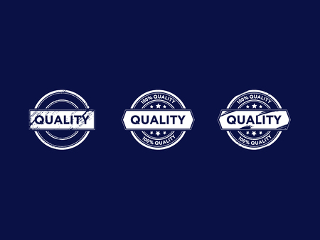 a set of logos, a quality mark, white on a dark background Illustration