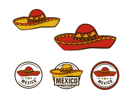 A mexican hats isolated on plain bAckground Illustration