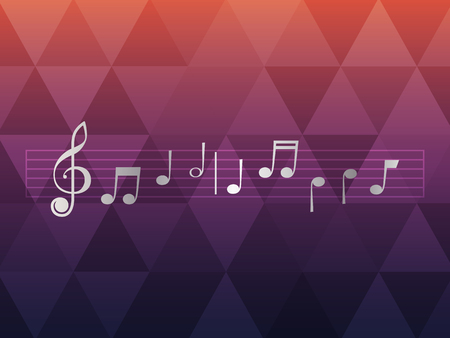 sheet music on the stave  on a color background with rhombus Çizim
