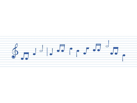 blue sheet musicon on a white background Çizim
