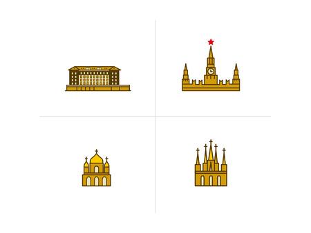 Vektorsymbole von Gebäuden verschiedener Baustile Vektorgrafik