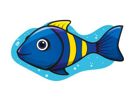 Cheerful, cute yellow-blue aquarium tropical clown fish with air bubbles on white background Ilustração