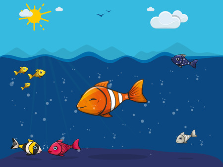 cute colorful fish underwater in the sea  イラスト・ベクター素材