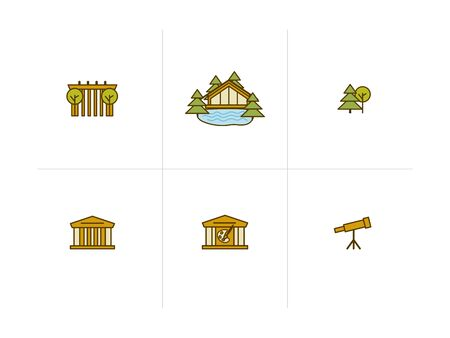 Vector flat icons of buildings of different architectural styles, classics, Empire, skyscrapers