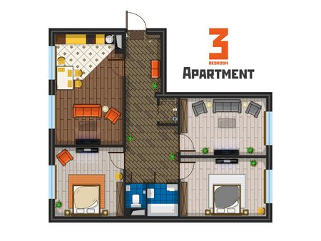Spacious three bedroom apartment project top view