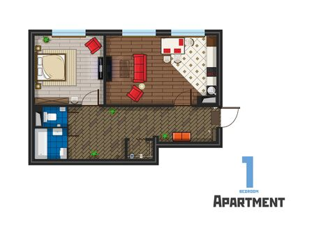 The project one bedroom apartment with furniture