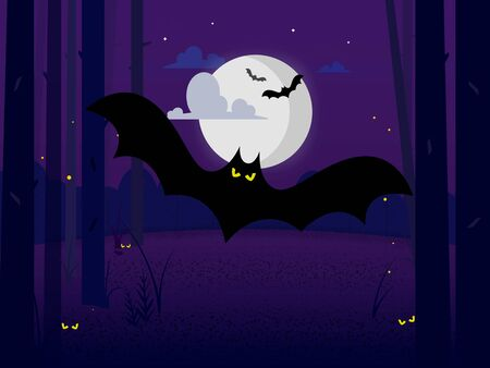 an ominous black bat with burning eyes in a midnight forest among the trees in the light of the moon hiding behind the clouds. Devilish eyes hiding in the grass