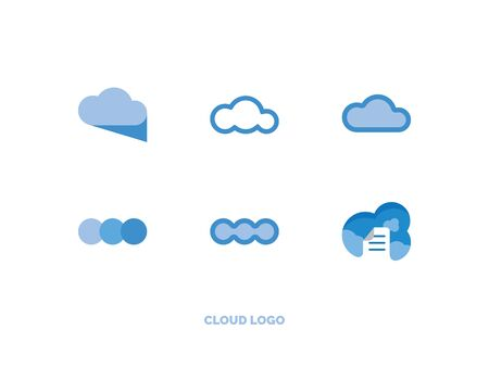 set of flat light blue cloud  イラスト・ベクター素材