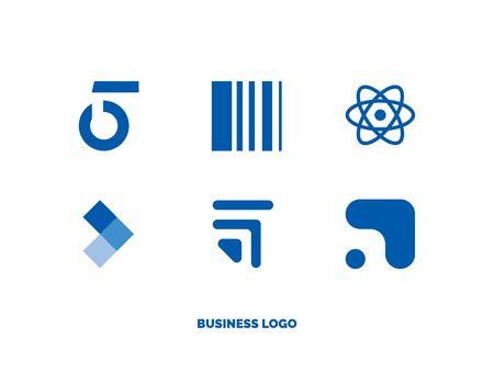 set of flat light blue cloud logos