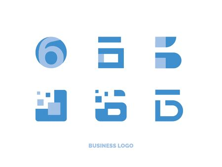 Set of flat business logo in different sign