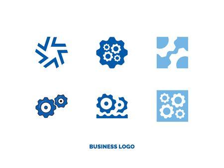 set of flat business logos stylized gears  イラスト・ベクター素材