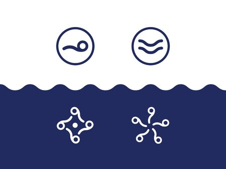 set of sea-themed  in the form of waves, swimmer, sea figures, liquid and round shapes  イラスト・ベクター素材