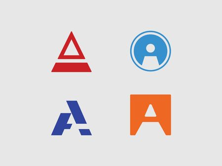 set of stylish in the form of the letter A in the form of a circle, square and triangle, similar to the race, road, tunnel  イラスト・ベクター素材