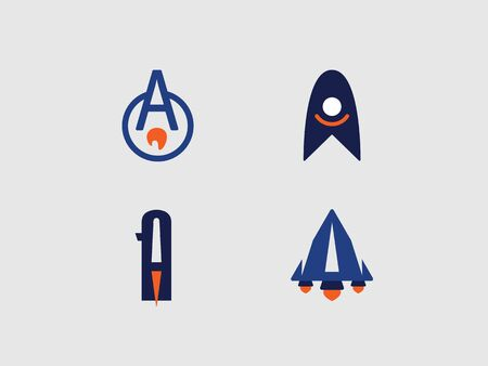 color with the symbol a in the form of a rocket in the form of a circle, a triangle and a trapezoid, with the escaping flame of jet engines  イラスト・ベクター素材