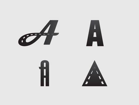 a set of stylish in the form of the letter A, combined with the theme of the road, highway and markings  イラスト・ベクター素材
