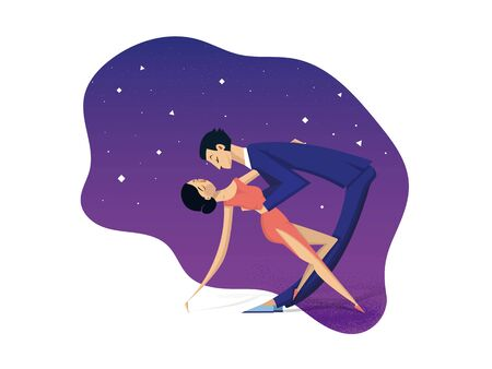 a stylized couple, man in a blue suit and a woman in a red dress dance in a tilt under the evening starry sky. Couple dark-haired, with light skin, slender, with sports figure. Vector illustration.