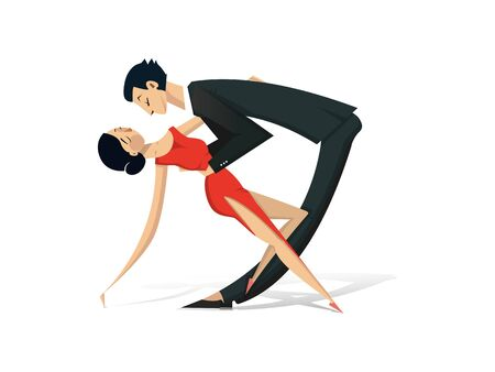 a stylized couple, man in a black suit and a woman in a red dress dance on a white background. Couple dark-haired, with light skin, slender, with sports figure. Vector illustration.  イラスト・ベクター素材