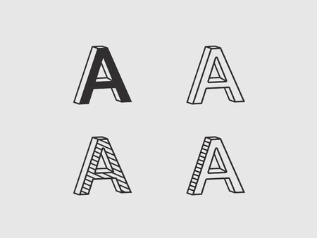 volumetric contour logos in the form of the letter A  イラスト・ベクター素材