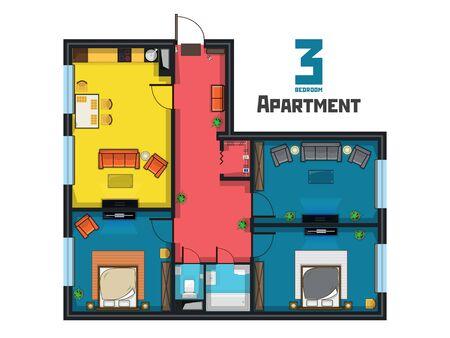 Colorful juicy layout of a spacious three bedroom apartment Ilustração Vetorial