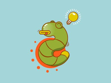 flat color fun snake icon with light bulb