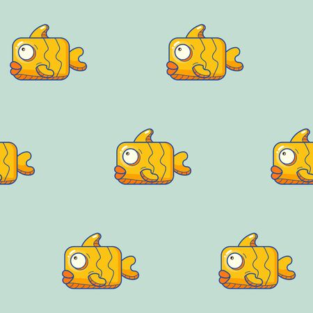 flat color fun fish pattern with bubble smiley