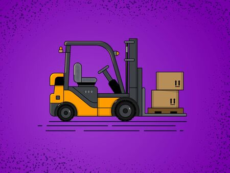 vector forklift yellow on a uniform purple background with a pallet and boxes