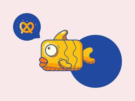 flat color fun fish icon with bubble pretzel