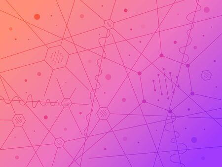 Geometric background with neural connections and orange-pink gradient. The interweaving of molecules, neurons, and DNA. Abstract chaos