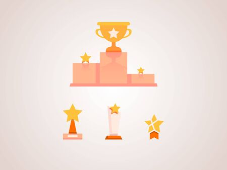 set of flat icons with podium and prize cups