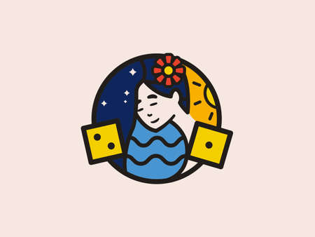 beautiful oriental girl and dice illustration