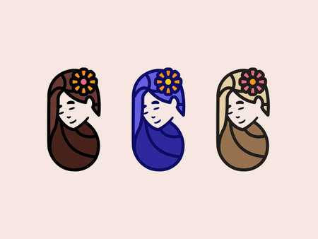 Three girls with a flower in their hair illustration