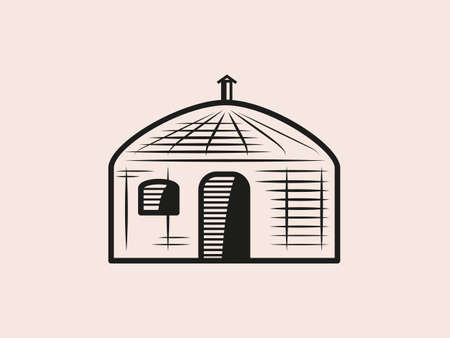 Outline drawing of a mobile home Mongolian yurt illustration